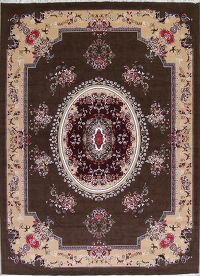 Geometric Aubusson Turkish Oriental 10x13 Acrylic Wool Area Rug