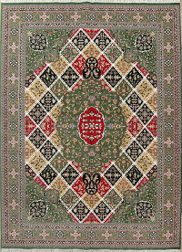 Geometric Green Oushak Turkish Oriental 10x13 Acrylic Wool Area Rug