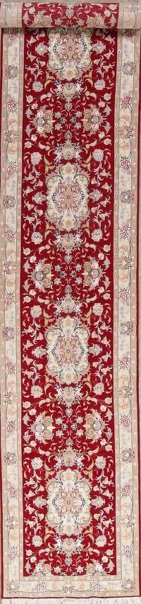 Extra Fine Floral Tabriz Persian Hand-Knotted 3x16 Wool Silk Runner Rug