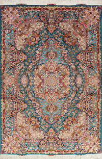 Floral Teal Green Tabriz Persian Hand-Knotted 7x10 Wool Silk Area Rug