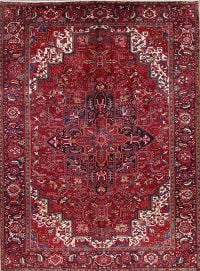 Geometric Red Heriz Persian Hand-Knotted 10x13 Wool Area Rug