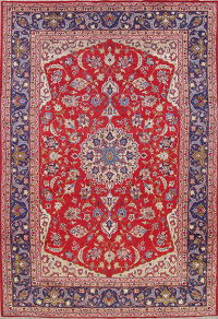 Floral Red Najafabad Persian Hand-Knotted 10x14 Wool Area Rug