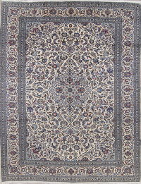 Traditional Floral Kashan Persian 10x13 Ivory Wool Area Rug