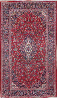Traditional Kashan Persian Hand-Knotted 7x11 Area Rug