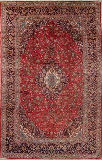 Traditional Floral Kashan Persian Hand-Knotted 10x15 Wool Rug