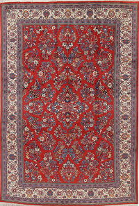 Floral Red Sarouk Persian Hand-Knotted 6x10 Wool Area Rug