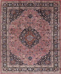 Antique Floral Mashad Persian Hand-Knotted 10x13 Wool Area Rug