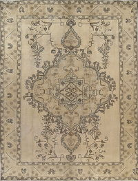 Geometric Brown Tabriz Persian Hand-Knotted 8x11 Wool Area Rug