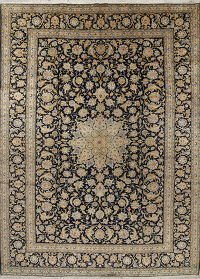 Vegetable Dye Floral Kashan Persian Hand-Knotted 9x13 Wool Area Rug