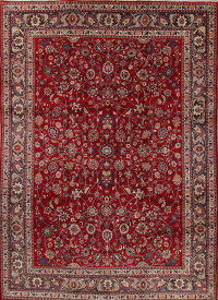 Floral Red Kashmar Persian Hand-Knotted 10x14 Wool Area Rug