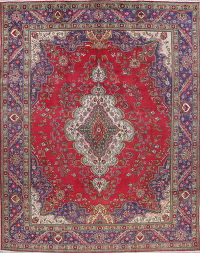 Geometric Tabriz Persian Hand-Knotted 10x13 Wool Red Area Rug