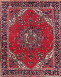 Red Tabriz Persian Hand-Knotted 10x13 Wool Area Rug