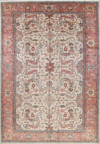 Palace Sized All-Over Heriz Serapi Persian 12x16 Wool Ivory Rug