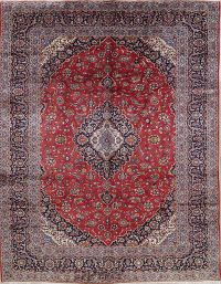 Traditional Floral Kashan Persian Hand-Knotted 10x12 Wool Area Rug