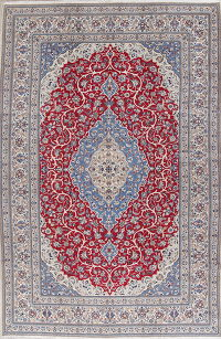 Traditional Floral Nain Persian Hand-Knotted 9x13 Wool Area Rug