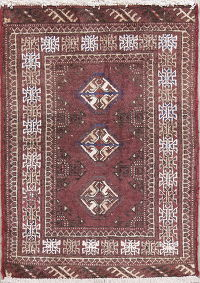 Geometric Hibiscus Balouch Persian Hand-Knotted 2x3 Wool Rug