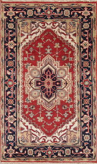 Geometric Red Heriz Indian Oriental Hand-Knotted 3x5 Wool Rug