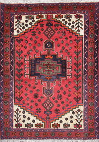 Tribal Geometric Hamedan Persian Hand-Knotted 3x5 Wool Rug