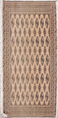 Beige Brown Geometric Turkoman Persian Hand-Knotted 2x4 Wool Rug