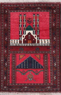 Red Geometric Balouch Persian 3x4 Wool Prayer Rug