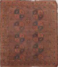 Pre-1900 Antique Balouch Afghan Oriental Hand-Knotted 4x4 Wool Square Rug