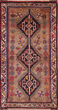 Brown Geometric Yalameh Persian Hand-Knotted 3x5 Wool Rug