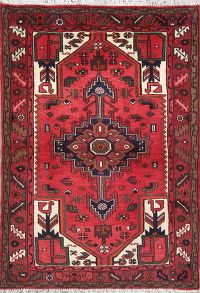 Red Geometric Hamedan Persian Hand-Knotted 3x5 Wool Rug