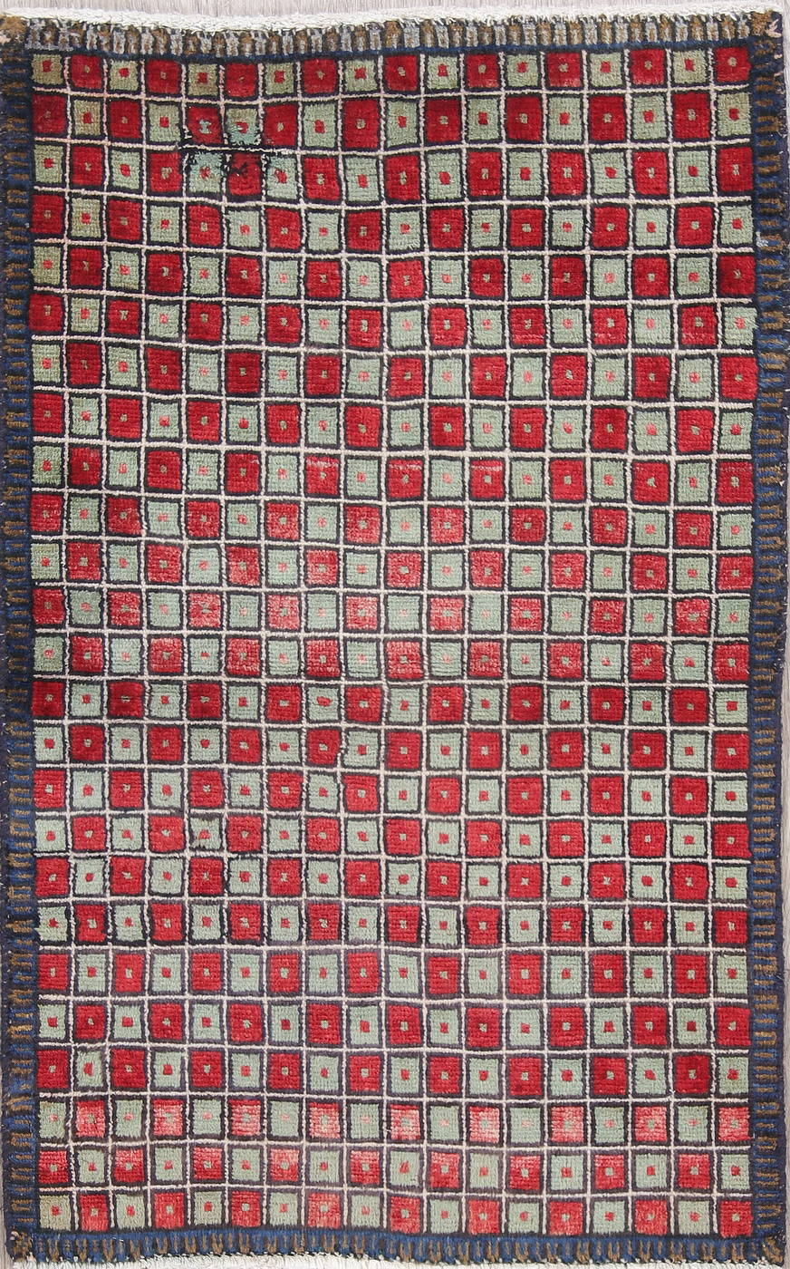 Checked Geometric Gabbeh Persian Hand-Knotted 2x4 Wool Rug image 11