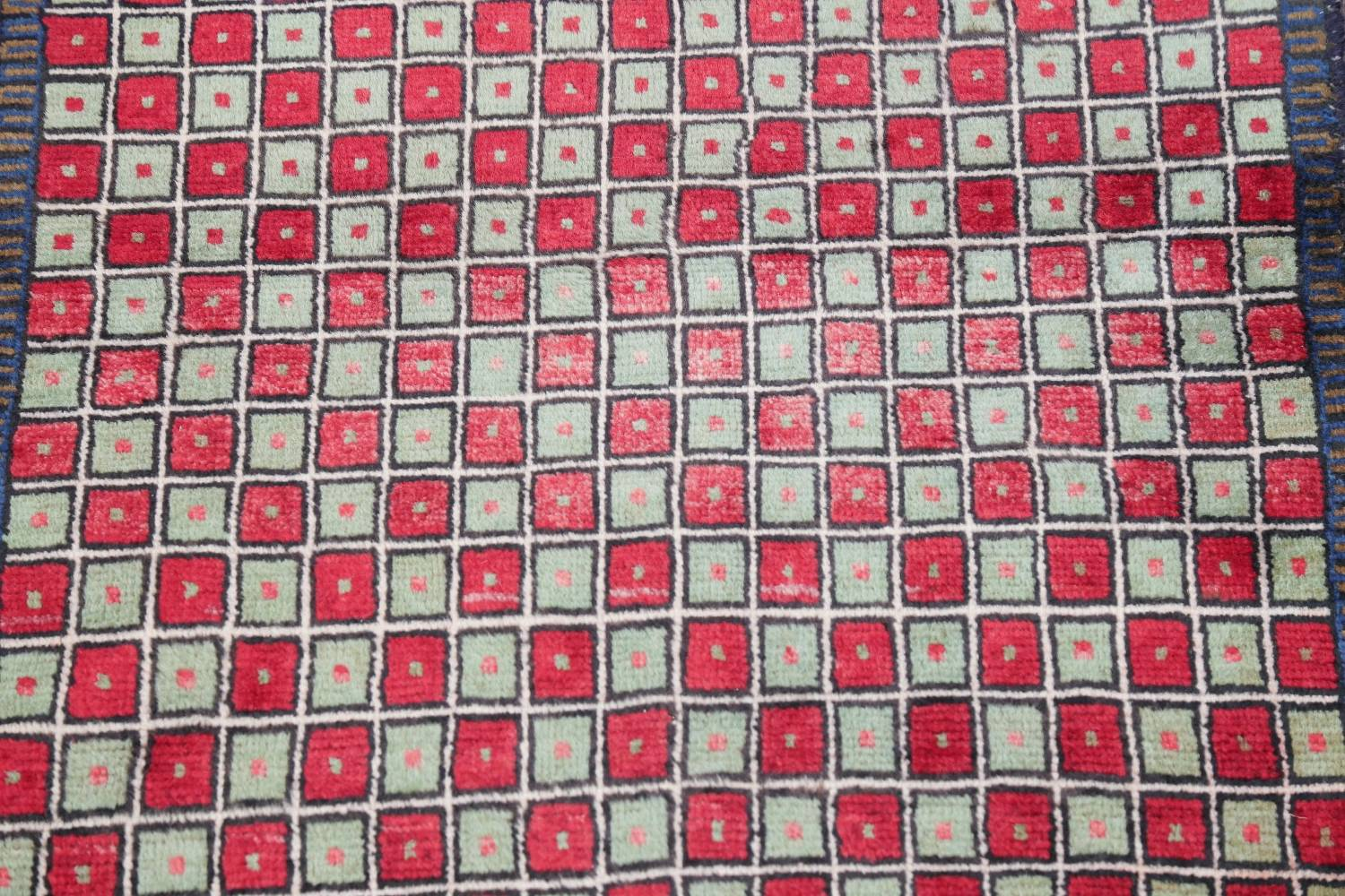 Checked Geometric Gabbeh Persian Hand-Knotted 2x4 Wool Rug image 17