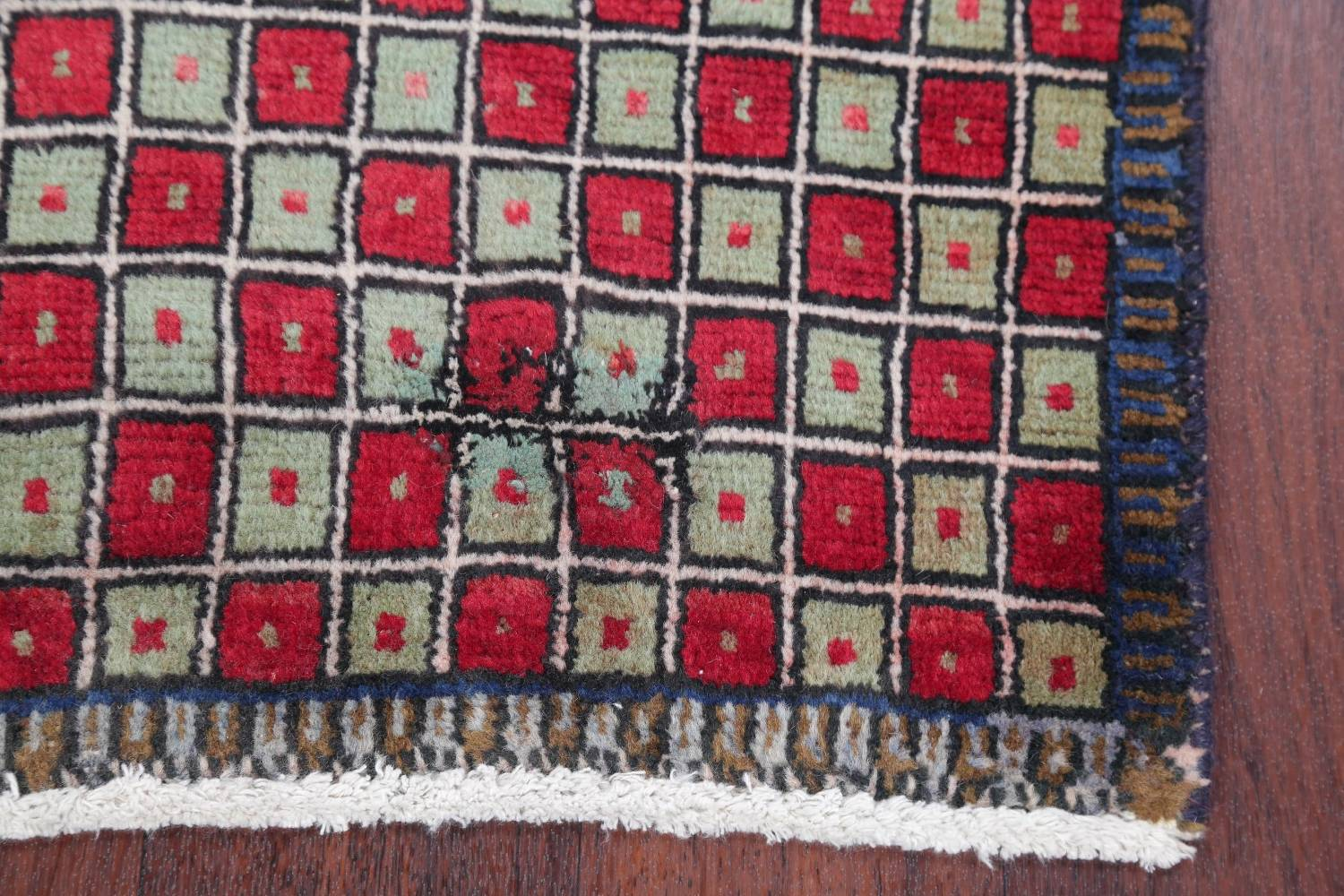 Checked Geometric Gabbeh Persian Hand-Knotted 2x4 Wool Rug image 15