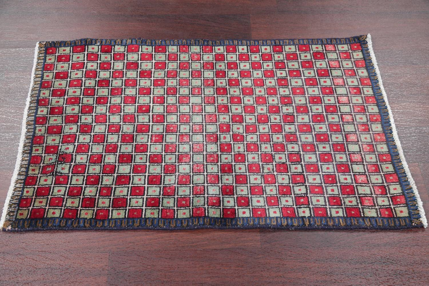 Checked Geometric Gabbeh Persian Hand-Knotted 2x4 Wool Rug image 9