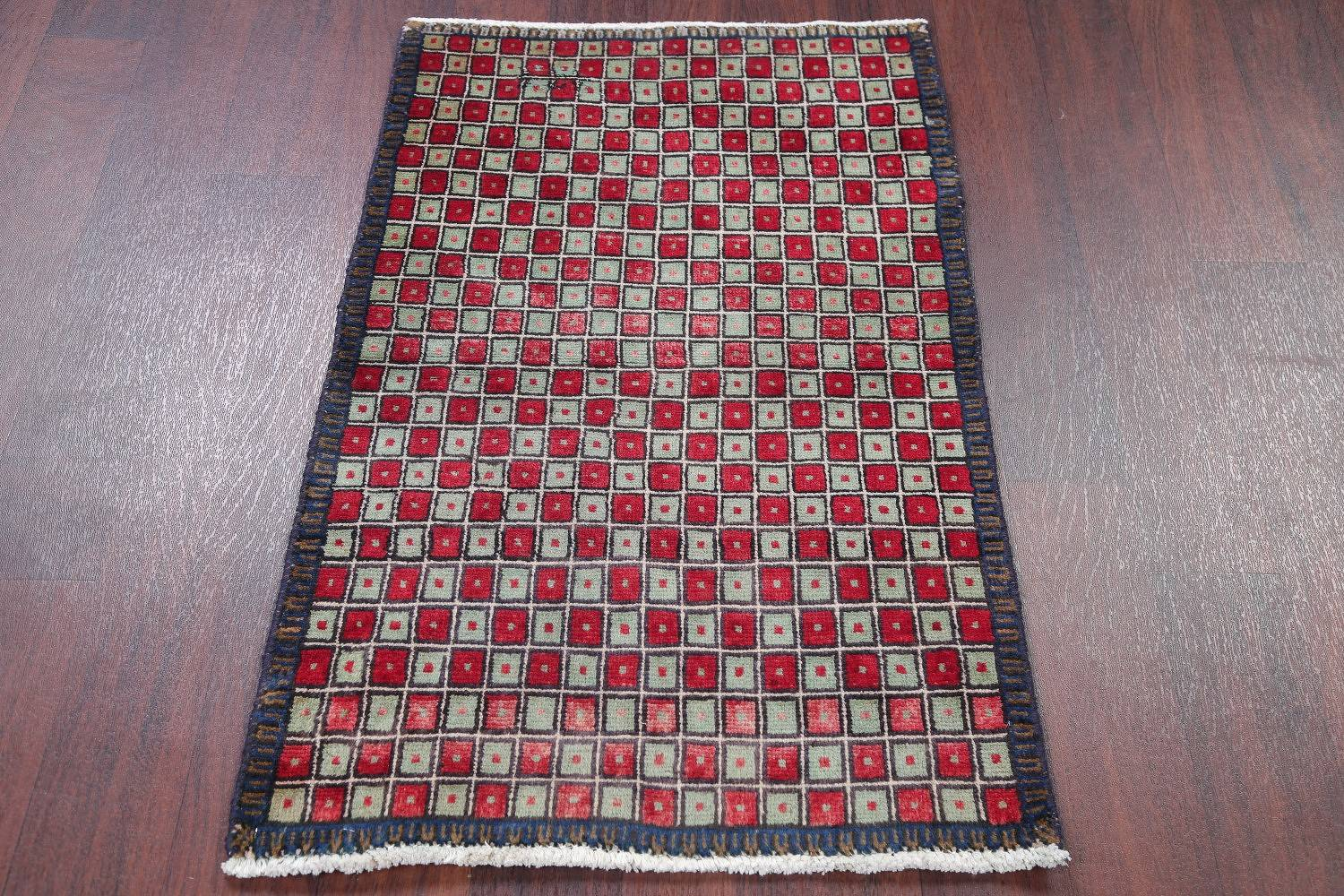 Checked Geometric Gabbeh Persian Hand-Knotted 2x4 Wool Rug image 8