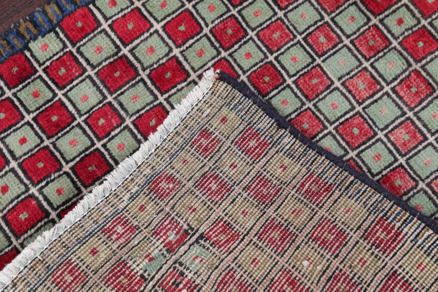 Checked Geometric Gabbeh Persian Hand-Knotted 2x4 Wool Rug image 5