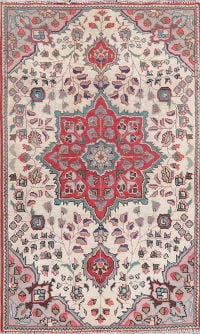 Geometric Ivory Tabriz Persian Hand-Knotted 3x4 Wool Rug