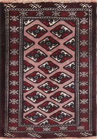 Multi-Color Geometric Balouch Persian Hand-Knotted 3x4 Wool Rug