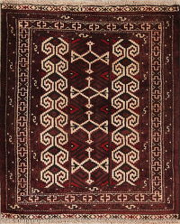 Multi-Colored Geometric Balouch Persian Hand-Knotted 3x3 Wool Square Rug