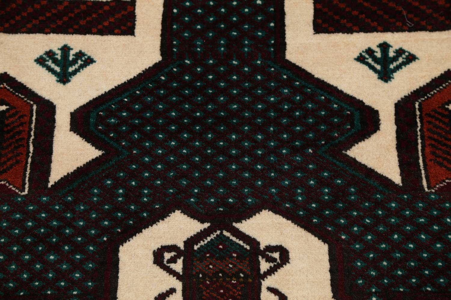 Geometric Balouch Persian Hand-Knotted 3x4 Prayer Rug image 4