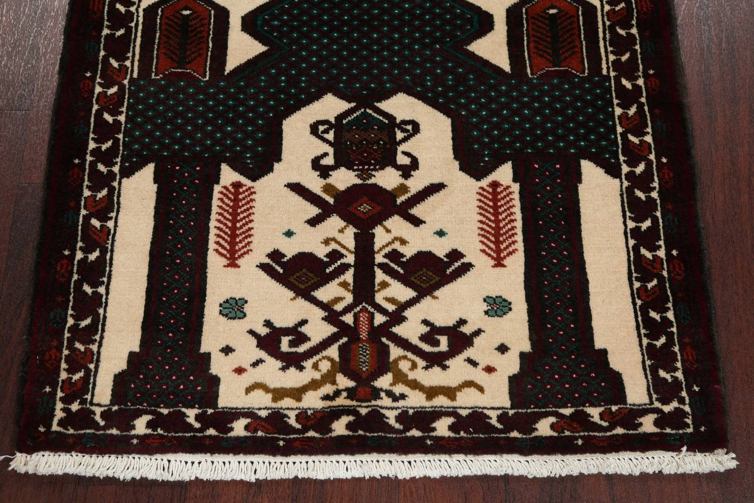 Geometric Balouch Persian Hand-Knotted 3x4 Prayer Rug image 5