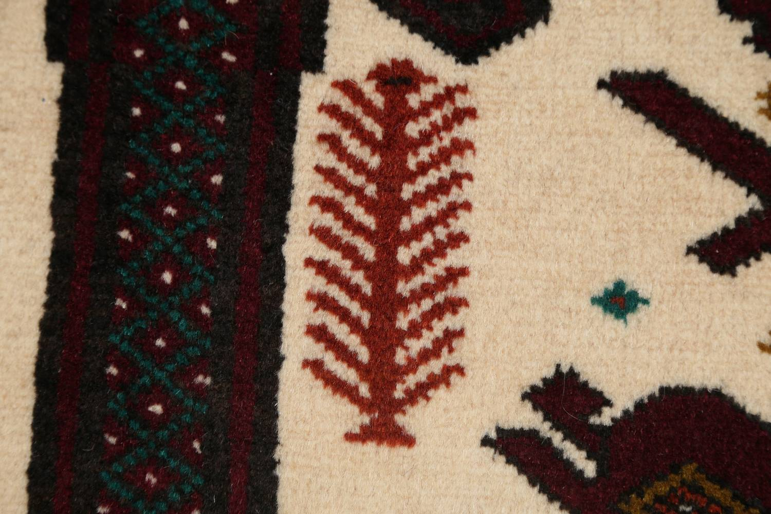 Geometric Balouch Persian Hand-Knotted 3x4 Prayer Rug image 7