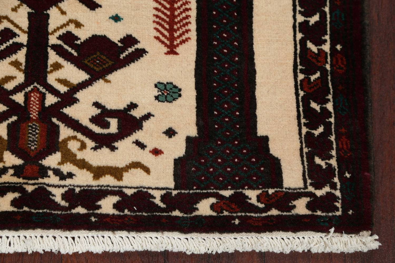 Geometric Balouch Persian Hand-Knotted 3x4 Prayer Rug image 6