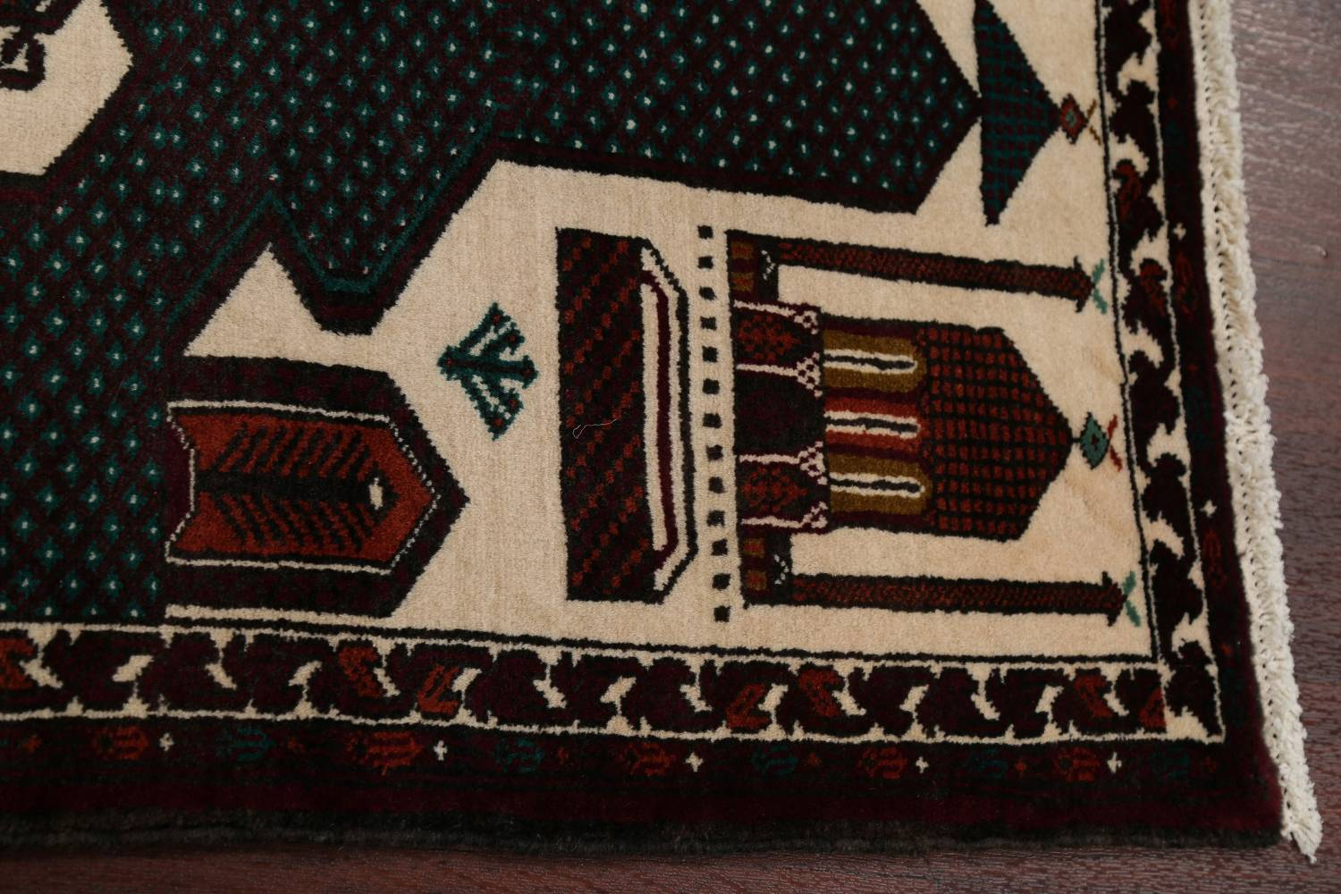 Geometric Balouch Persian Hand-Knotted 3x4 Prayer Rug image 8