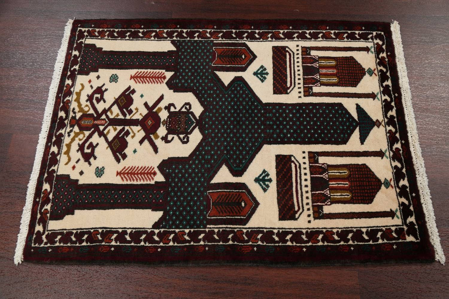 Geometric Balouch Persian Hand-Knotted 3x4 Prayer Rug image 11