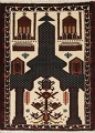 Geometric Balouch Persian Hand-Knotted 3x4 Prayer Rug image 1