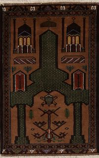 Geometric Brown Balouch Persian Hand-Knotted 3x4 Wool Prayer Rug