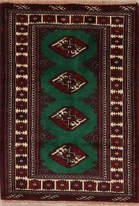 Geometric Green Balouch Persian Hand-Knotted 3x4 Wool Rug
