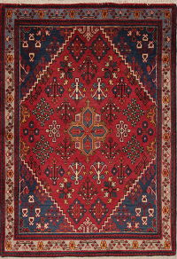 Geometric Red Joshaghan Persian Hand-Knotted 4x5 Wool Area Rug