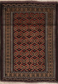 Geometric Brown Balouch Persian Hand-Knotted 3x4 Wool Rug