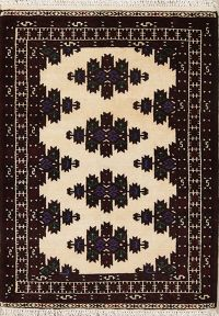 Geometric Ivory Balouch Persian Hand-Knotted 3x4 Wool Rug