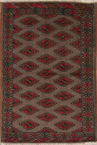Brown Geometric Balouch Persian Hand-Knotted 2x4 Wool Rug