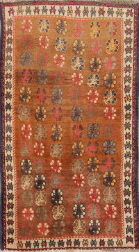 Geometric Rust Gabbeh Persian Hand-Knotted 3x5 Wool Rug